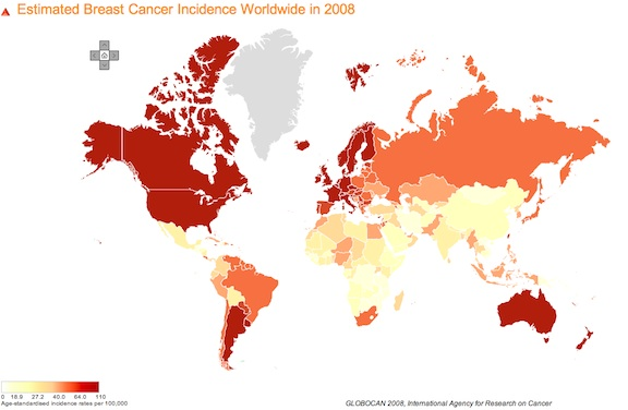 Breast Cancer world map.